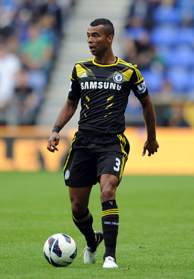 WIGAN, ENGLAND - AUGUST 19:  Ashley Cole of Chelsea in action during the Barclays Premier League match between Wigan Athletic and Chelsea at DW Stadium on August 19, 2012 in Wigan, England.  (Photo by Chris Brunskill/Getty Images)