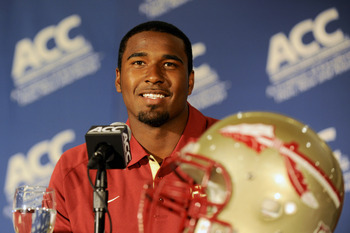 Florida State quarterback EJ Manuel was all smiles at ACC Media Days. I imagine he's a little more stern in the huddle.