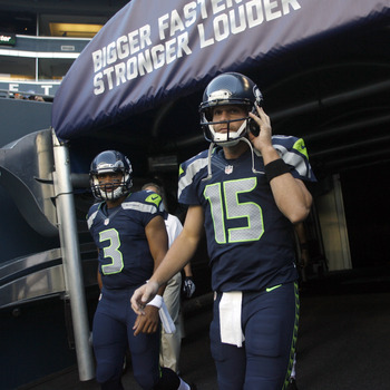 Russell Wilson (3) and Matt Flynn (15) are locked in a battle to start for the Seattle Seahawks. Do standard league players even care?