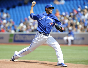 TORONTO, CANADA - AUGUST 19:  Henderson Alvarez #37 of the Toronto Blue Jays delivers a pitch during MLB game action against the Texas Rangers August 19, 2012 at Rogers Centre in Toronto, Ontario, Canada. (Photo by Brad White/Getty Images)