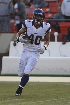 Rhett Ellison, Minnesota's fourth round pick in 2012, is able to play fullback, tight end and help on special teams. He has a roster spot with his name on it.