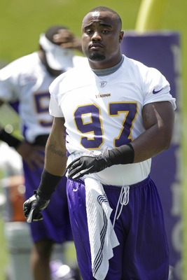 Everson Griffen is a player to keep an eye on. Minnesota moved him to linebacker to begin camp, but now he's back at defensive end.