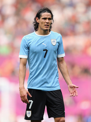 MANCHESTER, ENGLAND - JULY 26:  Edinson Cavani of Uruguay looks on during the Men's Football first round Group A Match of the London 2012 Olympic Games between UAE and Uruguay, at Old Trafford on July 26, 2012 in Manchester, England.  (Photo by Julian Fin