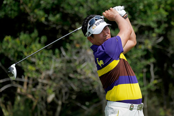 KIAWAH ISLAND, SC - AUGUST 11: Y.E. Yang of South Korea hits off the second tee during Round Three of the 94th PGA Championship at the Ocean Course on August 11, 2012 in Kiawah Island, South Carolina.  (Photo by Jonathan Ferrey/Getty Images)