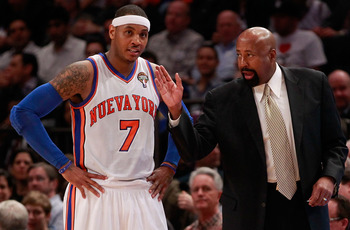 New York Knicks head coach Mike Woodson with Carmelo Anthony.