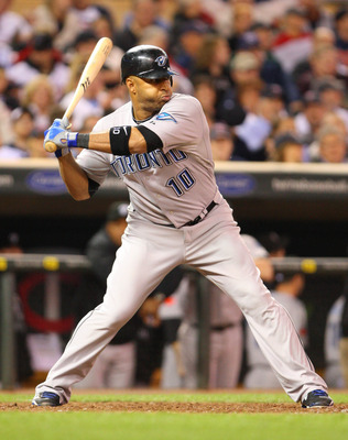 Sept. 30, 2010; Minneapolis, MN, USA; Toronto Blue Jays center fielder Vernon Wells (10) hits against the Minnesota Twins at Target Field. The Blue Jays defeated the Twins 13-2. Mandatory Credit: Brace Hemmelgarn-US PRESSWIRE