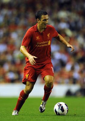 LIVERPOOL, ENGLAND - AUGUST 09:  Stewart Downing of Liverpool in action during the UEFA Europa League Third Round Qualifier between Liverpool and Gomel at Anfield on August 9, 2012 in Liverpool, England.  (Photo by Chris Brunskill/Getty Images)