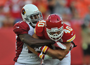 Patrick Peterson takes down Kansas City running back Peyton Hillis.