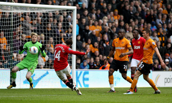 WOLVERHAMPTON, ENGLAND - MARCH 18:  Javier Hernandez of Manchester United scores their fifth goal during the Barclays Premier League Match between Wolverhampton Wanderers and Manchester United at Molineux on March 18, 2012 in Wolverhampton, England.  (Pho