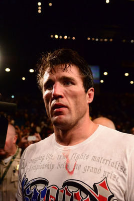 Jul. 7, 2012; Las Vegas, NV, USA; UFC fighter Chael Sonnen reacts after losing to Anderson Silva (not pictured) during a middleweight bout in UFC 148 at the MGM Grand Garden Arena. Mandatory Credit: Mark J. Rebilas-US PRESSWIRE