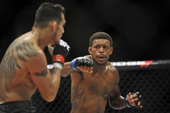Michael Johnson (right), along with many other fighters are out of a fight at the moment due to UFC 151's cancellation.