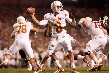 COLLEGE STATION, TX - NOVEMBER 24:  Case McCoy #6 of the Texas Longhorns throws a pass against the Texas A&M Aggies in the second half of a game at Kyle Field on November 24, 2011 in College Station, Texas. (Photo by Darren Carroll/Getty Images)