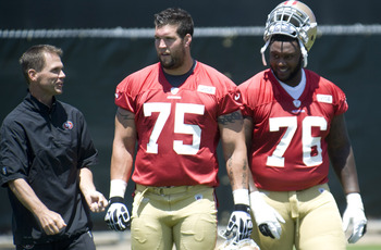 Alex Boone (75) and Anthony Davis (76) anchor the right side of the 49ers' offensive line