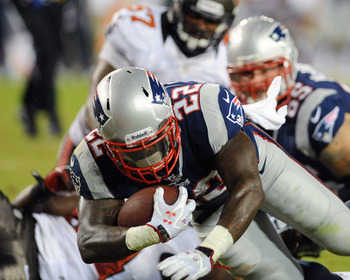 TAMPA, FL - AUGUST 24:  Running back Stevan Ridley #22 of the New England Patriots runs for a first half touchdown against the Tampa Bay Buccaneers at Raymond James Stadium in a pre-season game August 24, 2012  in Tampa, Florida. (Photo by Al Messerschmid