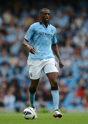 MANCHESTER, ENGLAND - AUGUST 19:  Yaya Toure of Manchester City in action during the Barclays Premier League match between Manchester City and Southampton at Etihad Stadium on August 19, 2012 in Manchester, England.  (Photo by Michael Regan/Getty Images)