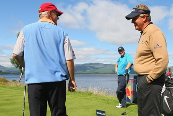 Sandy Lyle (left) and Colin Montgomerie aren't usually smiling