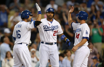 Los Angeles Dodgers Andre Ethier, Matt Kemp and Mark Ellis