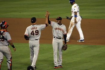 San Francisco Giants celebrating a recent victory over the Los Angeles Dodgers