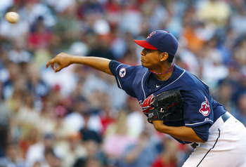 Rehabbing from Tommy John surgery, Carlos Carrasco is throwing in the mid-90s.