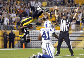 Antonio Brown should score more than two TDs in 2012. Let's just hope he sticks the landings.