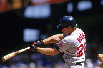 ANAHEIM, CA - AUGUST 30:  Wade Boggs #26 of the Boston Red Sox hits the ball during a game against the California Angels at Anaheim Stadium on August 30, 1992 in Anaheim, California.  (Photo by: Gary Newkirk/Gettyimages)