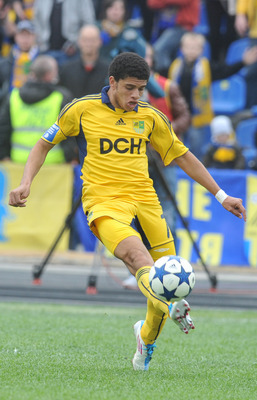 KHARKIV, UKRAINE - APRIL 30:  Barcellos Freda Taison of FC Metalist Kharkiv in action during their Ukrainian Premier League match against FC Karpaty Lviv on April 30, 2011 in Kharkiv, Ukraine. (Photo by Genya Savilov/EuroFootball/Getty Images)