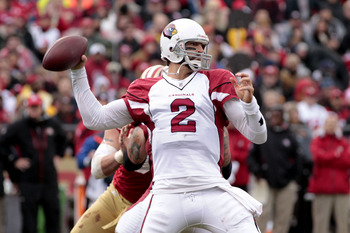 November 20, 2011; San Francisco, CA, USA; Arizona Cardinals quarterback Richard Bartel (2) prepares to throw a pass against the San Francisco 49ers in the fourth quarter at Candlestick Park. The 49ers defeated the Cardinals 23-7. Mandatory Credit: Cary E