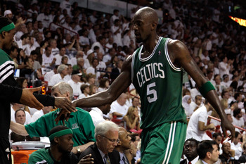 MIAMI, FL - JUNE 09:  Kevin Garnett #5 of the Boston Celtics is taken out of the game in the second quarter against the Miami Heat in Game Seven of the Eastern Conference Finals in the 2012 NBA Playoffs on June 9, 2012 at American Airlines Arena in Miami,