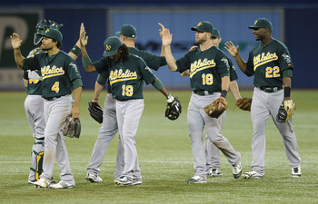 The A's high five each other after a recent win