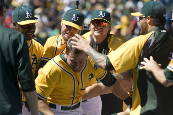 The A's celebrate a walk-off win