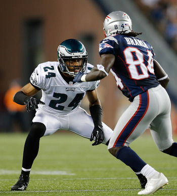 FOXBORO, MA - AUGUST 20:   Nnamdi Asomugha #24 of the Philadelphia Eagles confronts  Deion Branch #84 of the New England Patriots during a preseason game at Gillette Stadium on August  20, 2012 in Foxboro, Massachusetts. (Photo by Jim Rogash/Getty Images)
