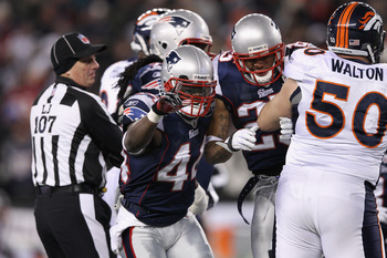 FOXBORO, MA - JANUARY 14:  James Ihedigbo #44 of the New England Patriots reacts againt the Denver Broncos during their AFC Divisional Playoff Game at Gillette Stadium on January 14, 2012 in Foxboro, Massachusetts.  (Photo by Elsa/Getty Images)