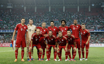 Bayern during their preseason. Shaqiri is second from the right on the bottom row.