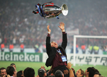 Former manager Carlo Ancelotti celebrates the Lombard club's 2007 title.