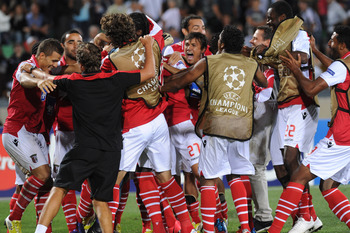 Jubilant scenes after qualfying for the group stages in Udine on Aug. 28.