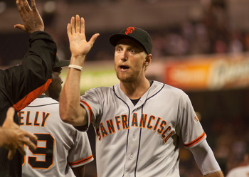 San Francisco Giants right fielder Hunter Pence celebrating a recent victory with teammates