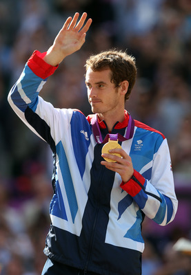 Andy Murray taking in his gold-medal achievement