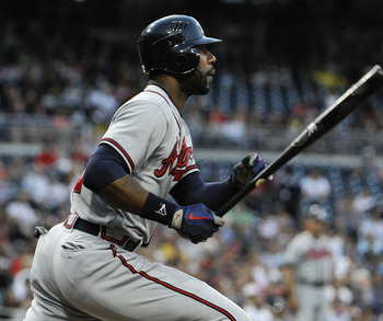 SAN DIEGO, CA - AUGUST 27:  Jason Heyward #22 of the Atlanta Braves hits a double during the first inning of a baseball game against the San Diego Padres at Petco Park on August 27, 2012 in San Diego, California.  (Photo by Denis Poroy/Getty Images)
