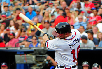 ATLANTA, GA - JULY 31: Brian McCann #16 of the Atlanta Braves hits a third inning home run against the Miami Marlins at Turner Field on July 31, 2012 in Atlanta, Georgia. (Photo by Scott Cunningham/Getty Images)