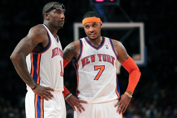 Carmelo being paired with Amar'e Stoudemire and Tyson Chandler form the greatest front court in the NBA.