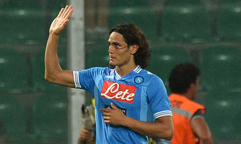 PALERMO, ITALY - AUGUST 26:  Edinson Cavani of Napoli reacts after scoring his team's third goal during the Serie A match between US Citta di Palermo and SSC Napoli at Stadio Renzo Barbera on August 26, 2012 in Palermo, Italy.  (Photo by Tullio M. Puglia/