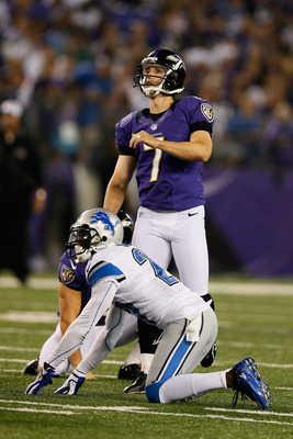 BALTIMORE, MD - AUGUST 17: Billy Cundiff #7 of the Baltimore Ravens kicks a field goal against the Detroit Lions at M&T Bank Stadium on August 17, 2012 in Baltimore, Maryland.  (Photo by Rob Carr/Getty Images)