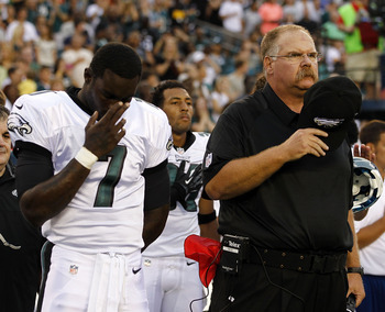 Michael Vick injures himself during National Anthem.