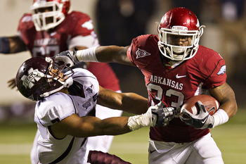 Dennis Johnson will be a key backup for the Razorbacks at running back this year.