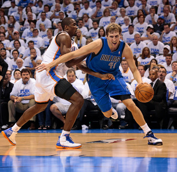 Nowitzki drives past Serge Ibaka