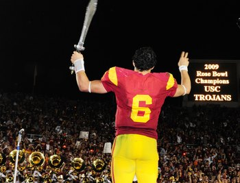 Mark Sanchez wields a sword after the Trojans' 2009 Rose Bowl victory over Penn State