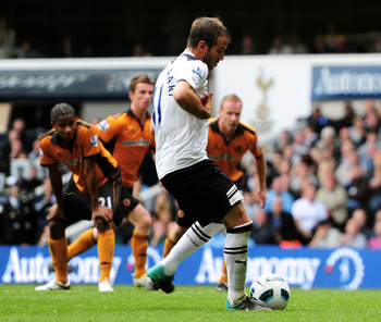 Rafael van der Vaart scores on his home debut against Wolverhampton Wanderers.
