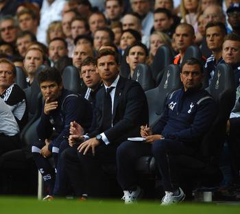 Andre Villas-Boas on the White Hart Lane bench during their 1-1 draw with West Bromwich Albion.