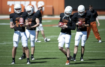 Whoever is the starting QB for Texas will benefit from a strong running back trio and talented offensive line.