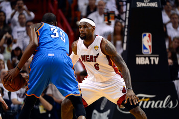 MIAMI, FL - JUNE 21:  LeBron James #6 of the Miami Heat defends against Kevin Durant #35 of the Oklahoma City Thunder in the first half of Game Five of the 2012 NBA Finals on June 21, 2012 at American Airlines Arena in Miami, Florida. NOTE TO USER: User e